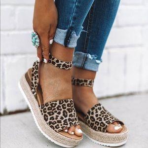Cheetah Leopard Espadrilles Platform Sandals